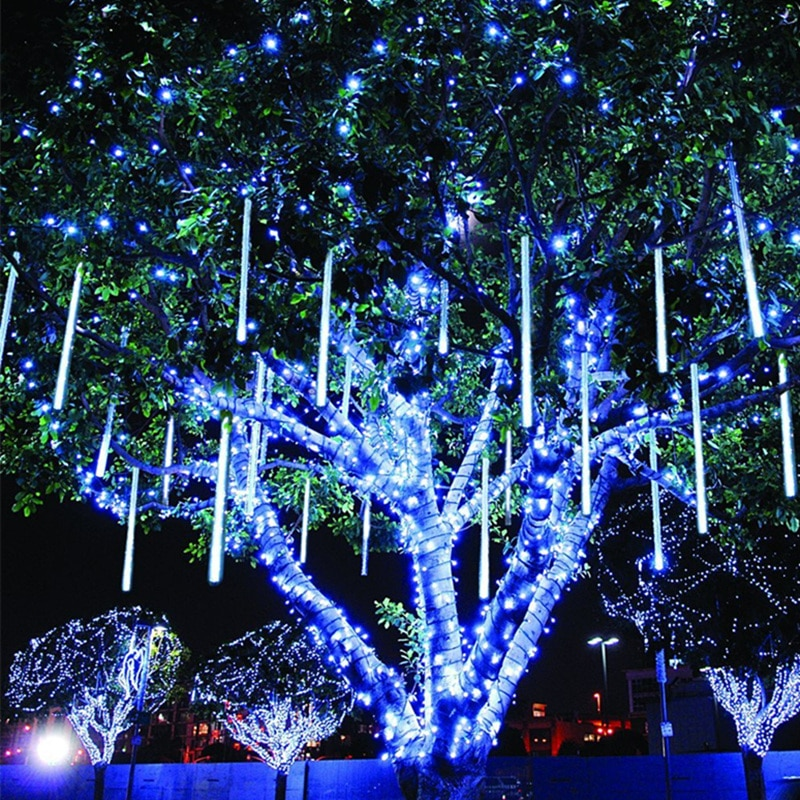 Guirnalda de tubo de lluvia de 30CM Led con forma de meteorito, guirnalda de luces para exteriores, decoración navideña para el hogar, adorno navideño, Navidad Natal, Año Nuevo