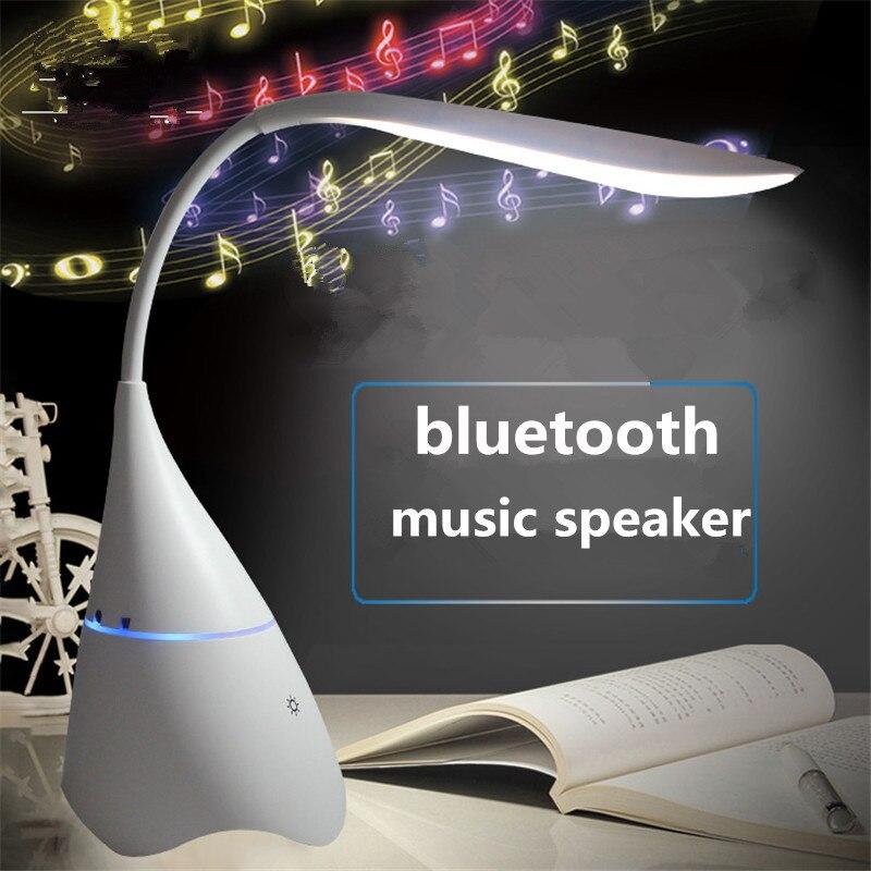 Беспроводная настольная стереолампа с зарядкой от USB и Bluetooth-динамиком, светильник для чтения с защитой глаз, лампа с динамиком для студентов и спальни