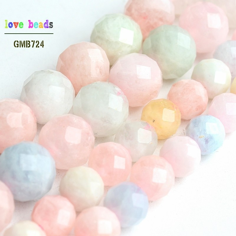 """AA + Natural facetado morganita piedra perlas para la fabricación de la joyería Diy pulsera collar de la 7,5 """"strand 6mm 8mm"""