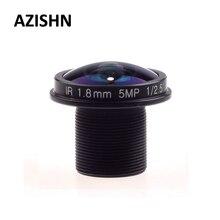 AZISHN Fisheye-objectif de vidéosurveillance   5 mp 1.8mm M12, Angle de vision large à 180 degrés F2.0 1/2.5 pouces pour caméra IP HD