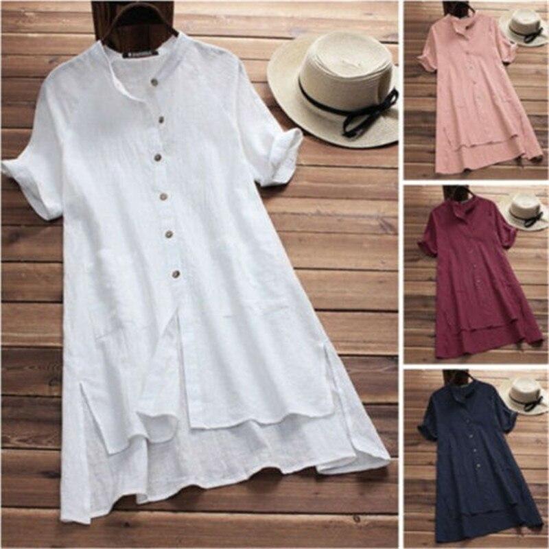 Plus Size Summer Dress Women Short Sleeve Shirt Button Tunic Dresses For Women Vintage Casual Solid Sundress Sarafans Vestidos
