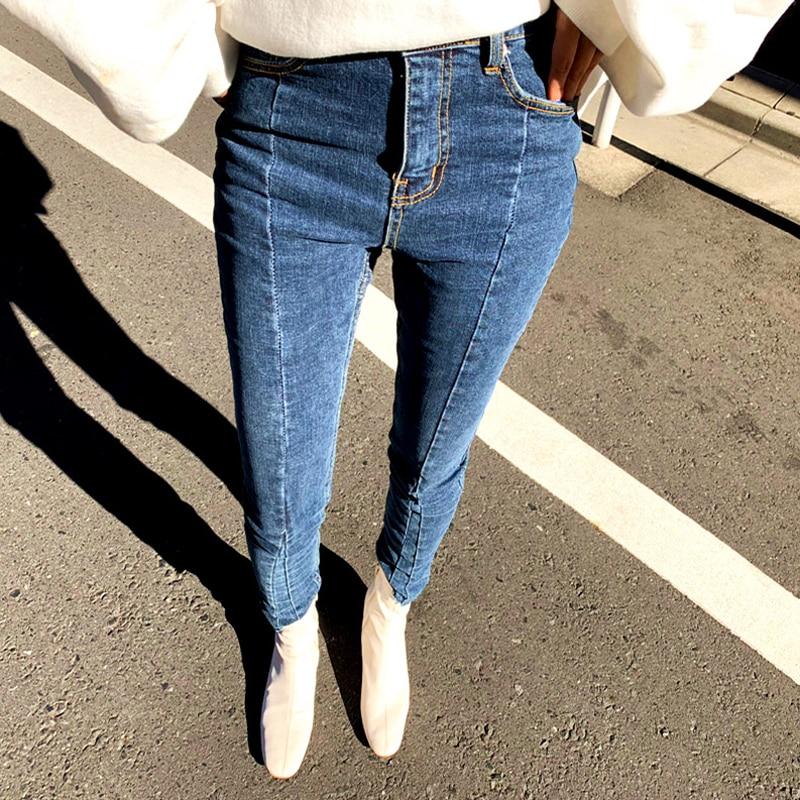 Primavera Verano Irregular Stretch pantalones vaqueros de retazos mujeres flaca borla alta cintura pantalones Capris mujer lápiz Jeans 2019