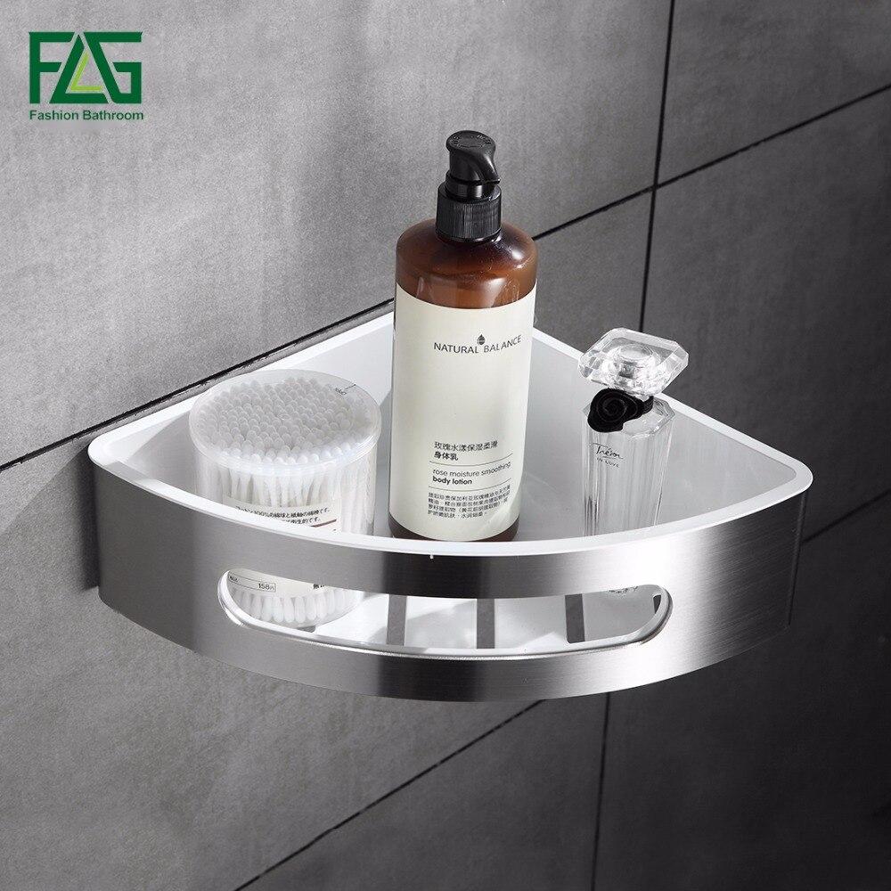 FLG 304 Stainless Steel & ABS Plastic Bathroom Shelf Single Tier Bathroom Storage Basket Wall Shelf Bathroom Rack Accessories