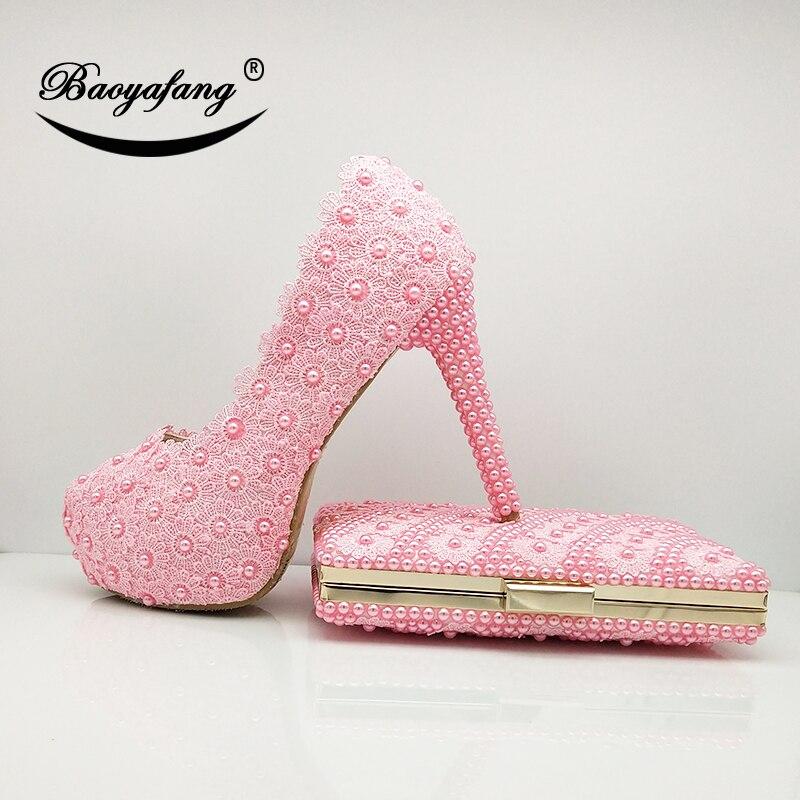 Zapatos de boda de flor rosa de bebé de BaoYaFang con bolsos a juego, zapatos de plataforma para mujer de 12cm, zapatos de tacón alto y bolsos con punta redonda