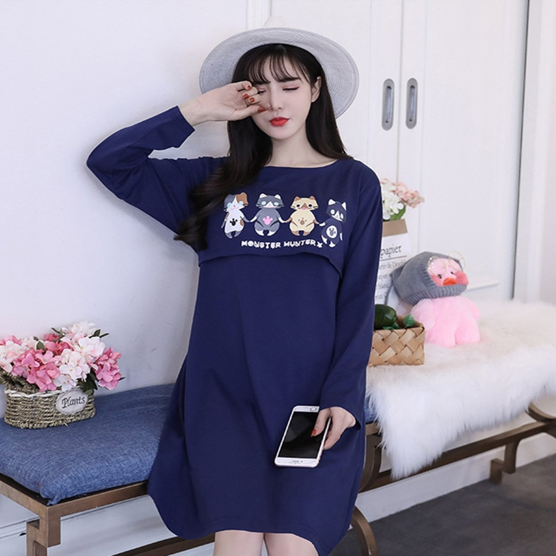 MODENGYUNMA Maternity Dresses New Long Sleeve Large Size Pregnancy Clothes Round Neck Breast-feeding Long Section Pregnant Dress enlarge