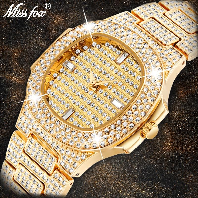 MISSFOX Брендовые Часы Кварцевые женские золотые модные наручные часы со стразами из нержавеющей стали женские наручные часы для девочек женские часы