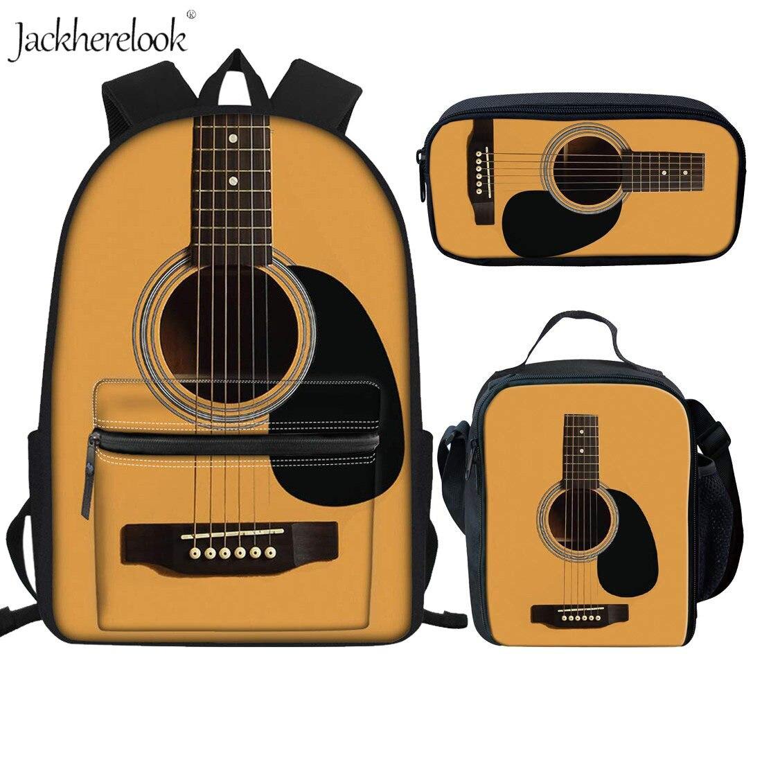 3Pcs Kids School Bags Set Music Note Guitar Panio Keyboard Printing Canvas Backpacks For Girls Boys Waterproof Student Bookbags