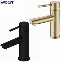 AODEYI Latão Torneira Do Banheiro Hot & Cold Water Tap Deck Montado Instale Única Alça Torneira Pia Escovado Gold & preto