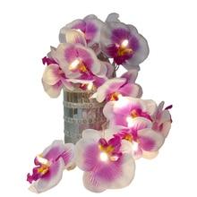 Unquie Handmade Orchid Flower LED String Lights,floral holiday lighting, Vase flower arrangement,Party event light decoration