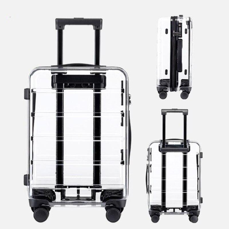 "Maleta de viaje de 20 ""22"", 24 "", 26"", Maleta de viaje transparente con ruedas"