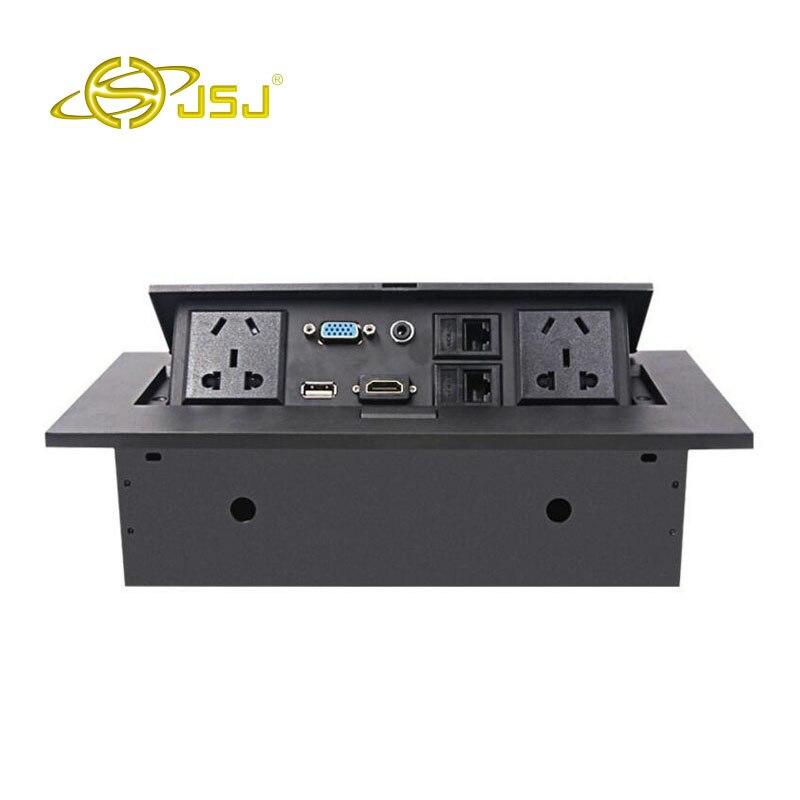 JSJ Pop-up tomada de desktop multimídia caixa de painel de energia tomada fiação fio da liga do zinco frete grátis