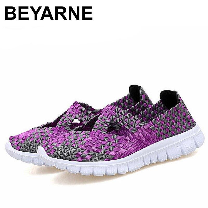 Zapatos informales transpirables de BEYARNESummerhighquality SlipOn hechos a mano Wovenmother zapatos planos ligeros ShoeE418