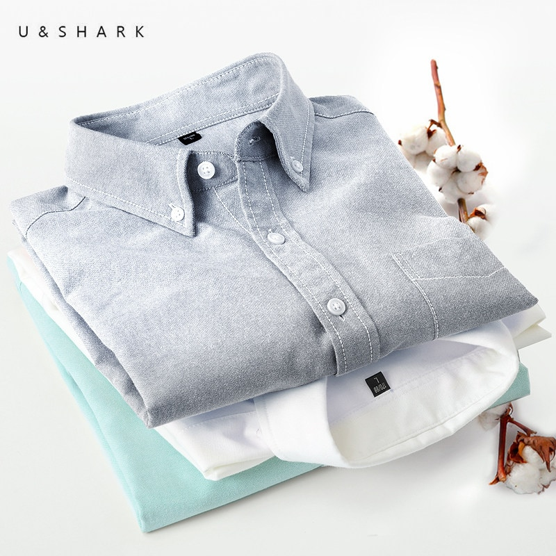 Nueva camisa Oxford de algodón para hombre de Otoño de U & SHARK, blusa de marca de alta calidad para hombre, camisa informal de manga larga de talla grande