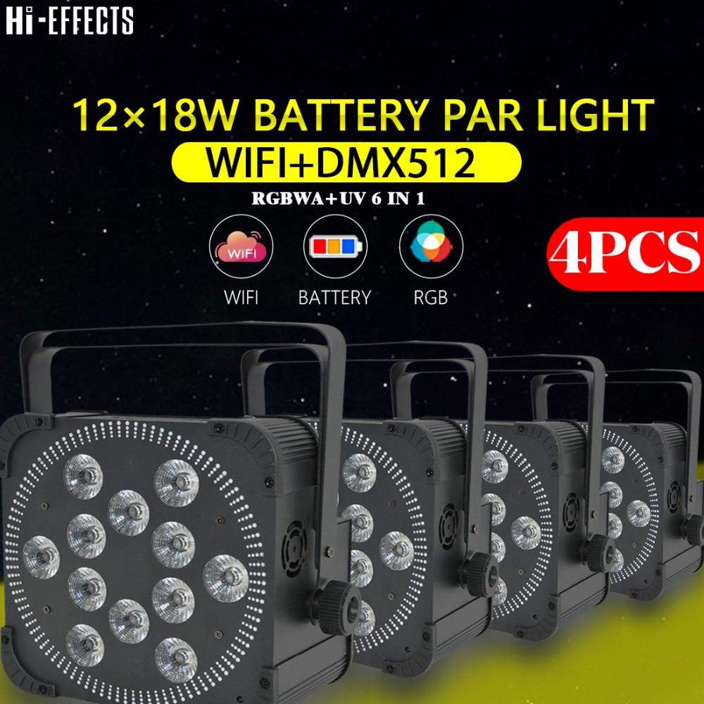 4pcs/lot  12x18W  LED Par Light DMX512 With Wifi Iphone APP Remote Control Dream Colour RGBWA+UV 6IN1 Stage Light Dj Par Lights