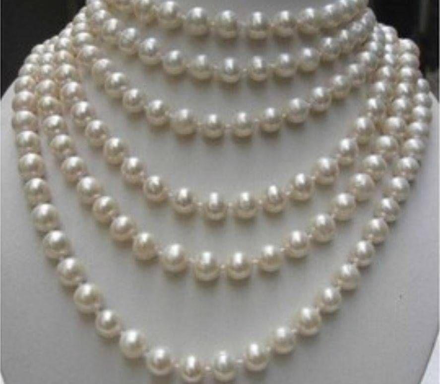 Rápido Largo 100 pulgadas AA + 8-9MM blanco Akoya collar de perlas cultivadas RTY AAA