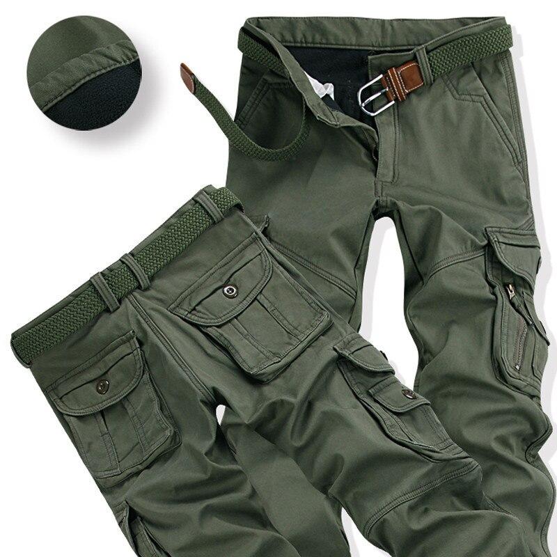 Pantalones cálidos para hombre para invierno, entrenamiento de escalada al aire libre, monos gruesos de carga, pantalón térmico holgado con múltiples bolsillos para Trabajador de talla grande