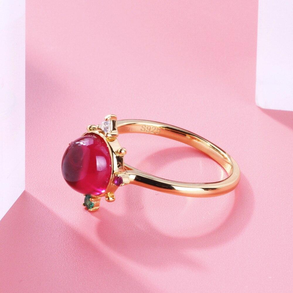 TGNEL, 100% Стерлинговое Серебро S925 пробы, кольца для женщин, инкрустация рубином и кубическим цирконием, золотой цвет, свадебные аксессуары для ...