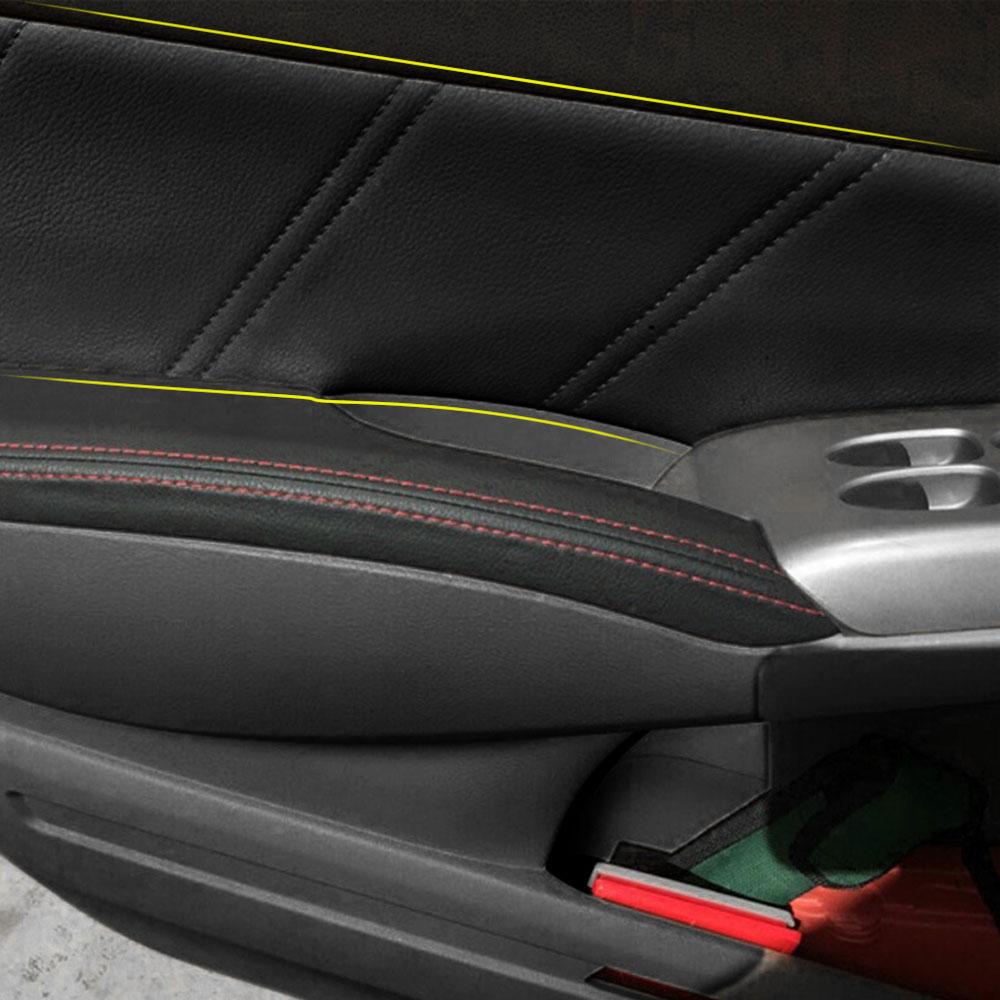 Para honda civic 8th couro interior porta braço superfície capa guarnição painel guardas estilo do carro acessórios proteger tampas