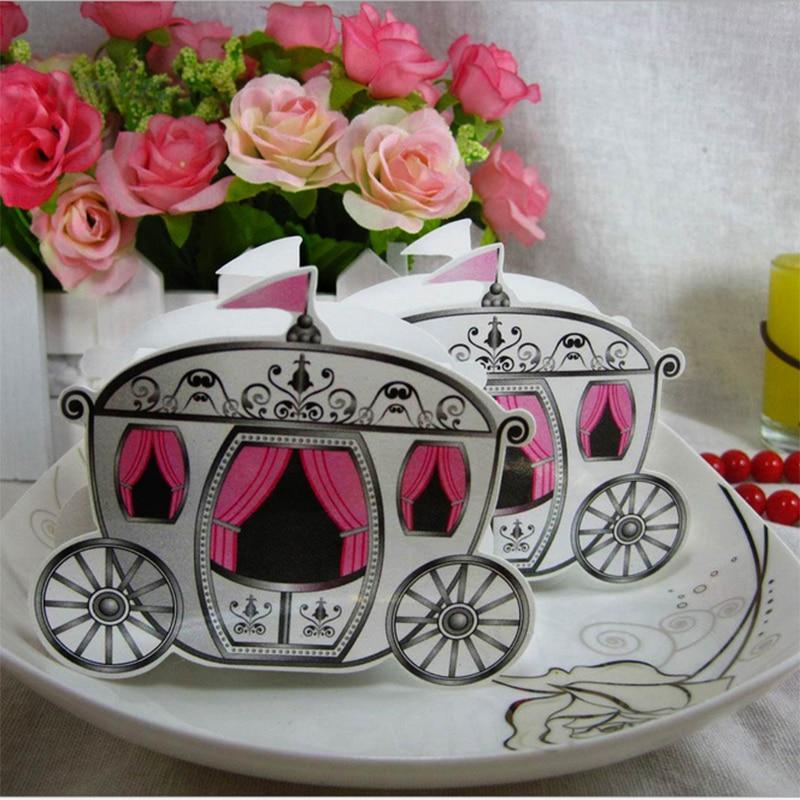 100 pcs Romântico Cinderella Pumpkin Carriage Caixa Dos Doces Do Chuveiro de Bebê Favorece Presentes de Casamento de conto de Fadas Do Casamento do Evento & Fontes Do Partido