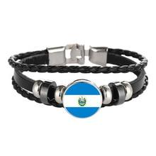 Elfin Salvador Flag Bracelets Classic New Woven Leather Salvador Charm Bracelets Jewellery