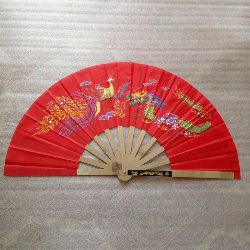 De acero inoxidable abanico de kungfú tieshan tai chi fan dance quinquagenarian fitness