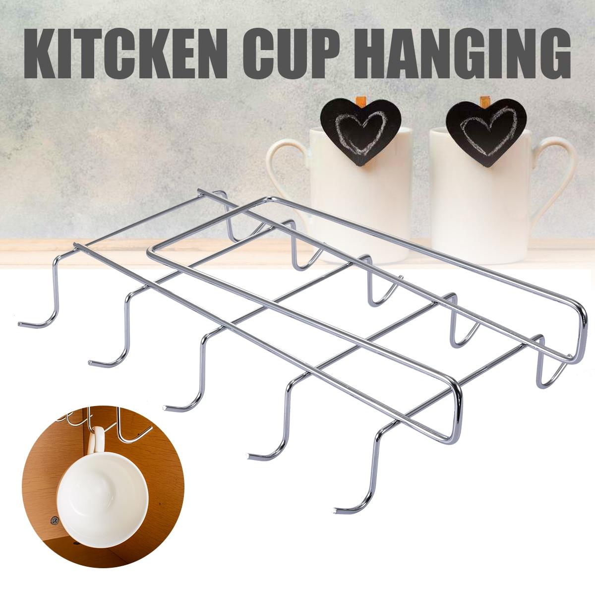 Cintre de tasses à vin en acier inoxydable   10 crochets, support de suspension de tasses, support de cuisine, organisateur de rangement de Bar Anti-rouille Durable