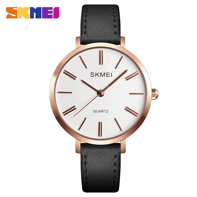 2019 New Fashion Reloj Mujer Casual Watch SKMEI Quartz Watch Women Clock Luxury Brand Waterproof Leather Strap Woman Wristwatch enlarge