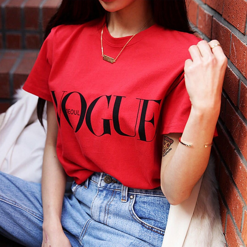 Girl Harajuku Fashion Summer T-shirt Camisas Red Letter Printed VOGUE Black Short Sleeve Popular female 1PC Women Tops Clothes disney vogue women t shirt creative short sleeve fairy tale villain painting printed popular summer hipster tshirts white top