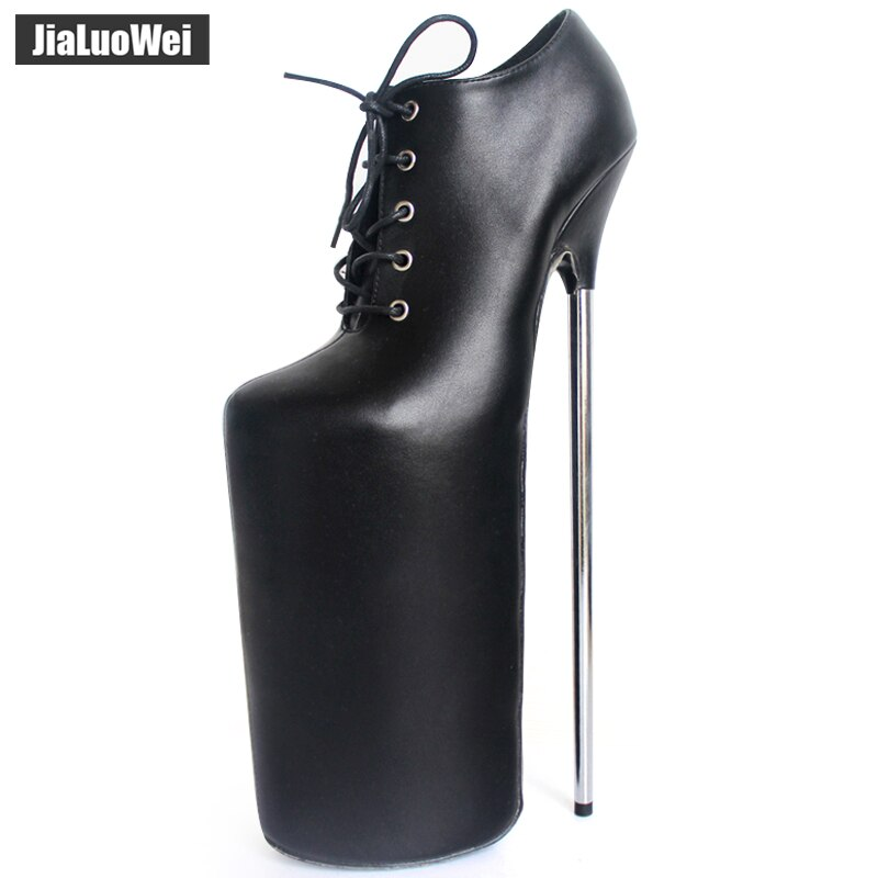 Jialuowei جديد 30 سنتيمتر سوبر عالية المعادن رقيقة كعب منصة الدانتيل متابعة جلد النساء مثير صنم ملهى ليلي مضحك أحذية السيدات الأحذية