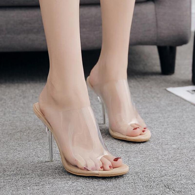 Zapatillas transparentes sexis con tacón de cristal, zapatos de verano para mujer, zapatos de tacón alto de verano a la moda, zapatillas de mujer, tallas 5,5-9,5