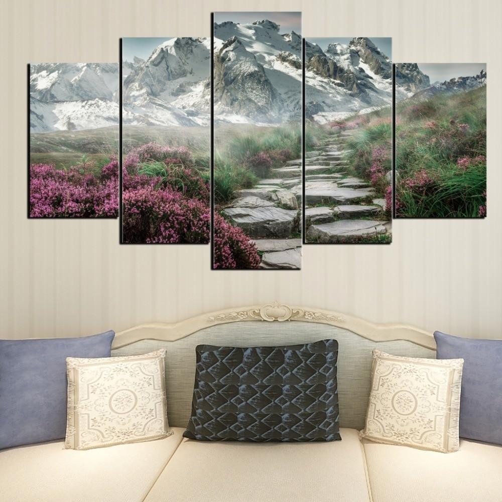 Envío Gratis 5 lienzo de primavera Nevada para decoración del hogar, mural para sala de estar, póster de pintura digital modular