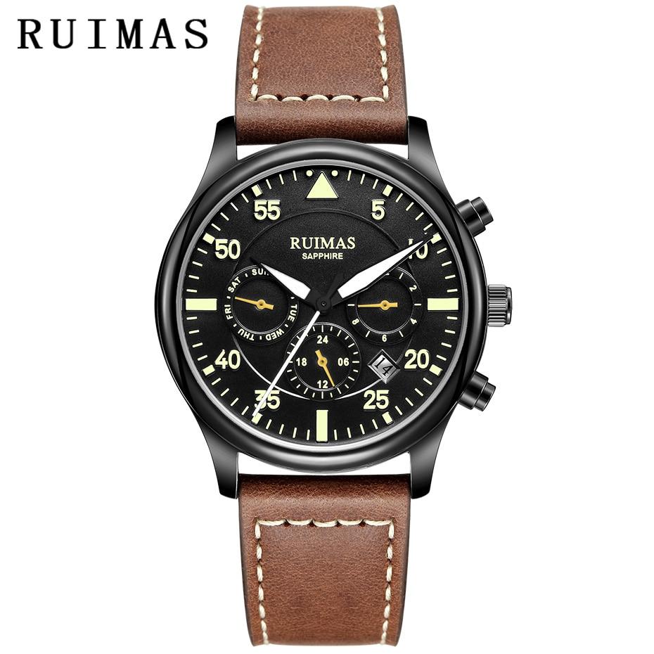 RUIMAS-ساعة يد جلدية أصلية للرجال ، ميكانيكية ، أوتوماتيكية ، للأعمال ، Erkek Kol Saati