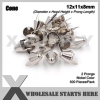 punk english uk 77 round cone stud 12x11mm in silver nickel with 2 prongs for leather craftbagshoes