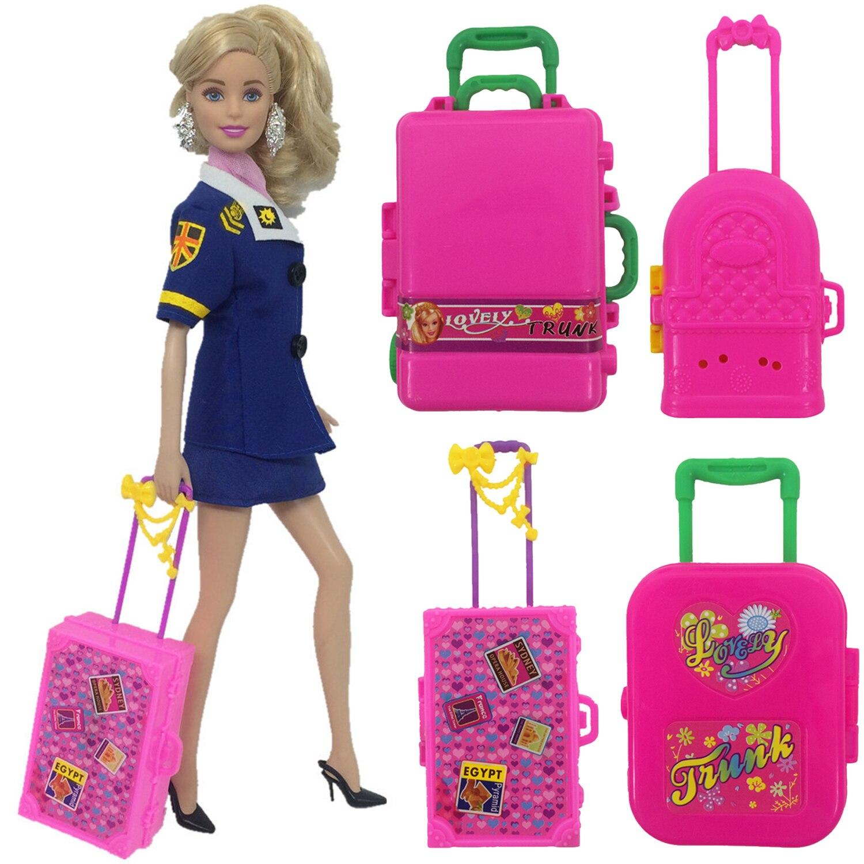 Mini boneca para mala de viagem, boneca de miniatura de viagem para mala de viagem, acessórios de móveis, adereço para brinquedo de barbie