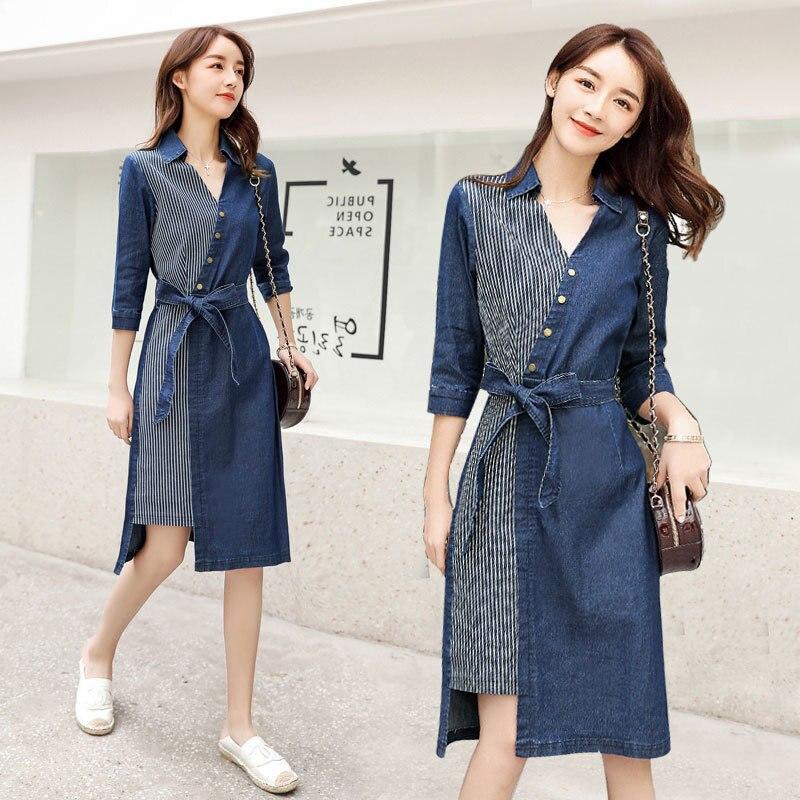 Temperament denim dress female 2020 new spring and summer V-neck sleeve stitching Slim denim dress