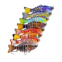 Nouveau 8 pc De Pêche Leurre 10 cm 3D Yeux 7-Segment Réaliste De Pêche Dur Leurre Crankbait Avec 2 Crochet de pêche Appâts Pesca Cebo