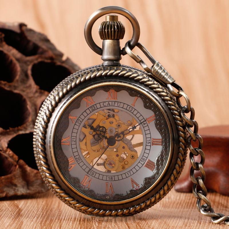 Новое поступление бронзовые винтажные стеклянные Чехлы ручные механические карманные часы стимпанк Fob часы с цепочкой Рождественский пода...