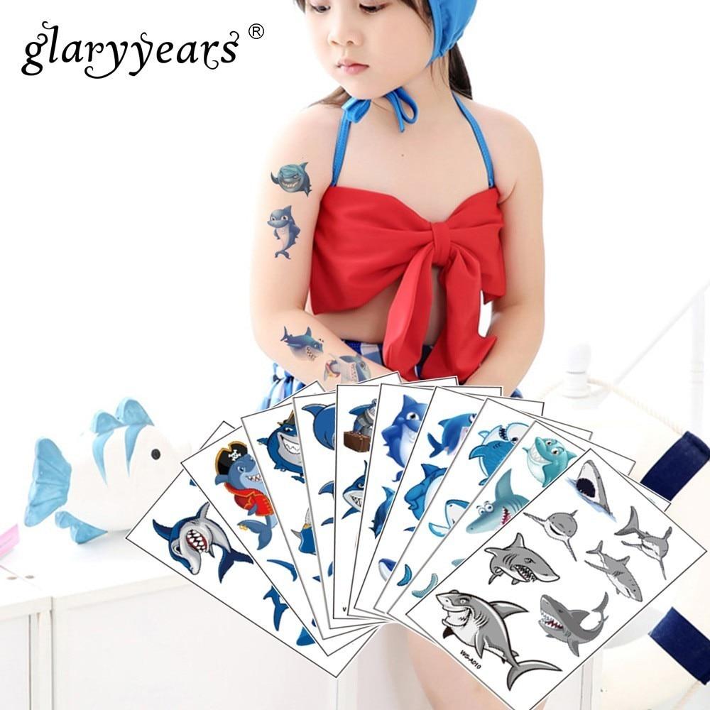 Glaryyears 1 hoja de maquillaje temporal de tiburón tatuaje adhesivo azul falso destello de tatuaje impermeable pequeño arte corporal hombres mujer Niño
