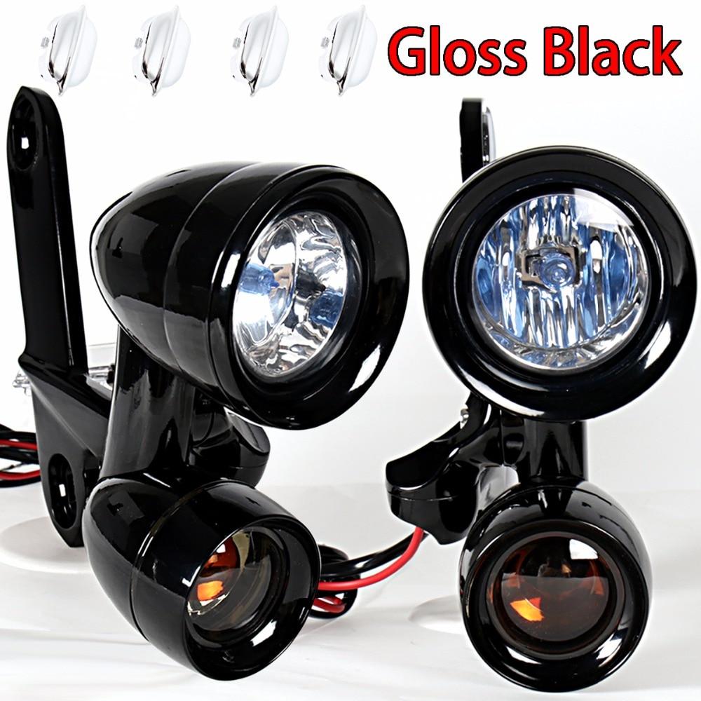 Luces de conducción montadas en carenado negro brillante intermitentes para Harley Electra Street GLIDE FLH/T FLHX FLHR 1996-2013