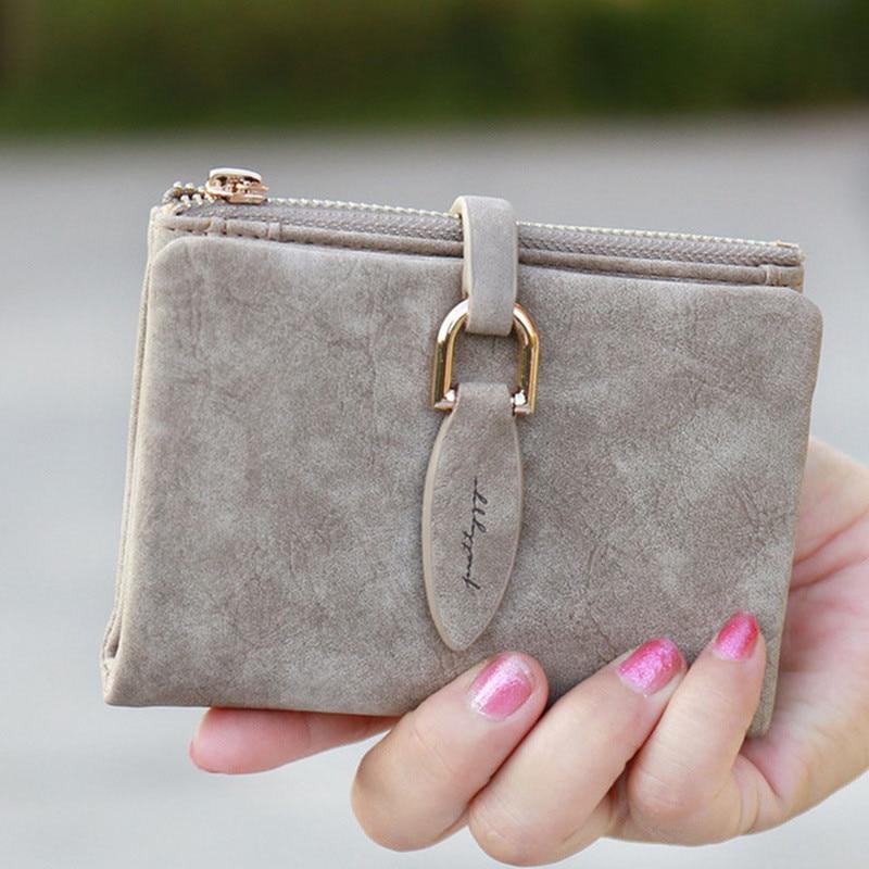 Mode Frauen Kurze Geldbörsen Peeling Leder Weibliche Brieftasche Perse Karte Halter Münze Geld Tasche Weiche Dollar Preis Damen Brieftasche Kleine