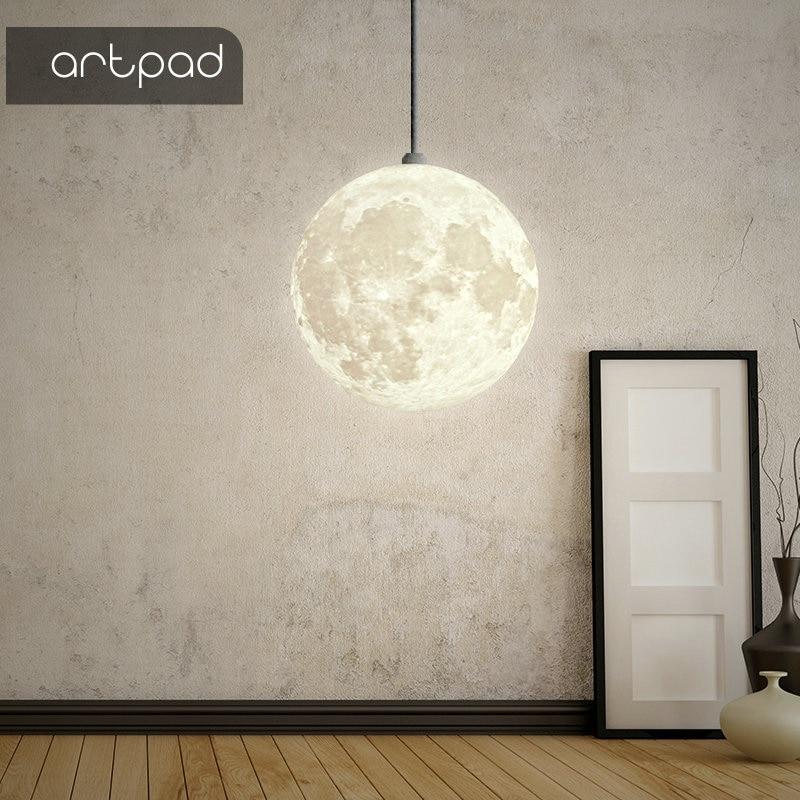 Artpad Creative Art Beautiful 3D Printing Night Light Moon Hanging Pendant Light Ball Restaurant Bedroom Living Room Dining Room
