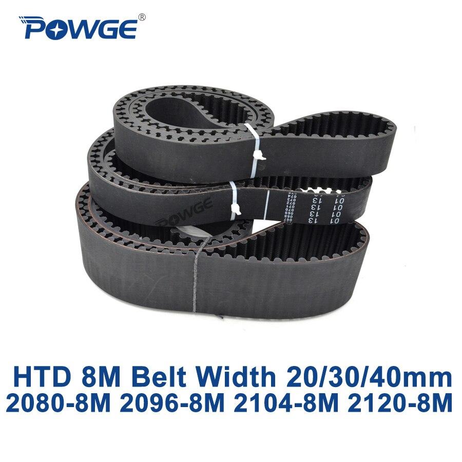 POWGE HTD 8M متزامن توقيت حزام C = 2080/2096/2104/2120 عرض 20/30/40 مللي متر الأسنان 260 262 263 265 HTD8M 2080-8M 2096-8M 2120-8M
