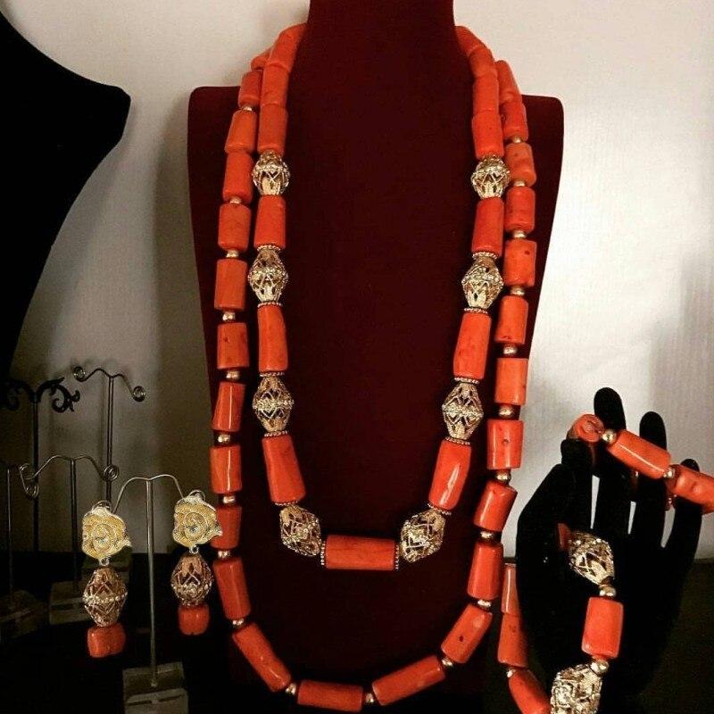 Dudo-طقم مجوهرات نسائي ، عقد وأقراط ، لؤلؤ مرجاني كبير ، طقم مجوهرات زفاف نيجيري ، شحن مجاني ، جديد ، 2019