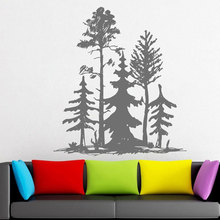 Simplistic Style Modern Living Room Decal  Pine Tree Group Beautiful Wall Decal Vinyl Sticker Custom Room Decoration LR58