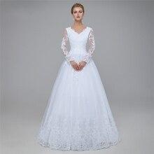 Nouvelles robes de mariée modestes blanches à manches longues Illusion col en V longueur de plancher femmes manches ld robes de mariée sur mesure