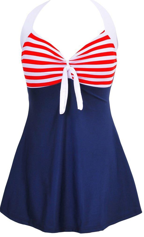 Womens Retro Vintage Sailor Pin Up Maiô Halter Uma Peça Skirtini Cover Up Swimdress Plus Szie EUA 6-US 18 Banho terno