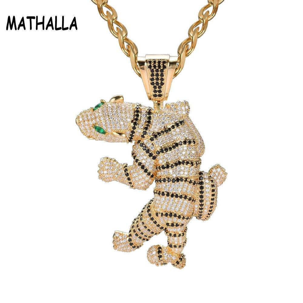 MATHALLA repleto de circonita encanto de tigre colgante, collar de Micro Pave CZ piedra Animal colgante de oro declaración collar joyería de Hip Hop