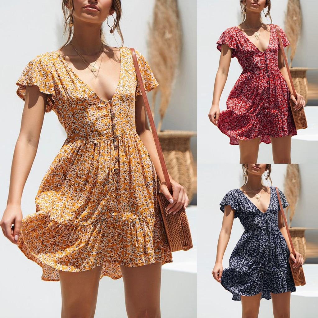 Summer  Dress Floral Summer Boho Beach Dress Vintage Ruffles Short Sleeve A-Line Party Mini Dress Sundress Vestidos Plus Size