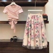 Collection printemps été 2019 imprimé Rose pour femmes. Mode bandeau croisé en coton Blouses hauts et longues jupes mi-longues a-ligne