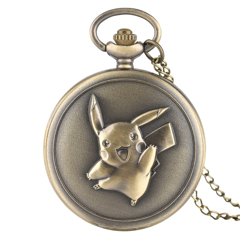 Antique Pocket Watch Cute Pokemon Design Pikachu Bronze Quartz Fob Watches Boy Girl Chic Pendant Gift with Necklace Chian
